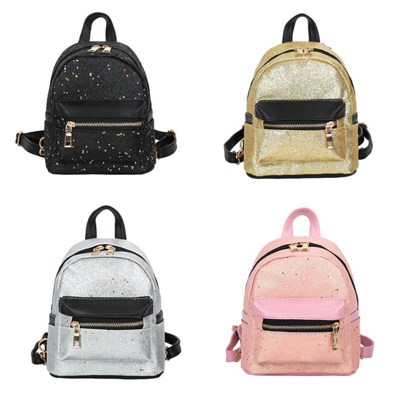 0b2815a658ff 2018 New Fashion Shining Sequins Women Cute Small Backpacks PU Leather  School Bags Girls Princess Shoulder Bag Female Backpack Bags Rucksack From  Prettyman