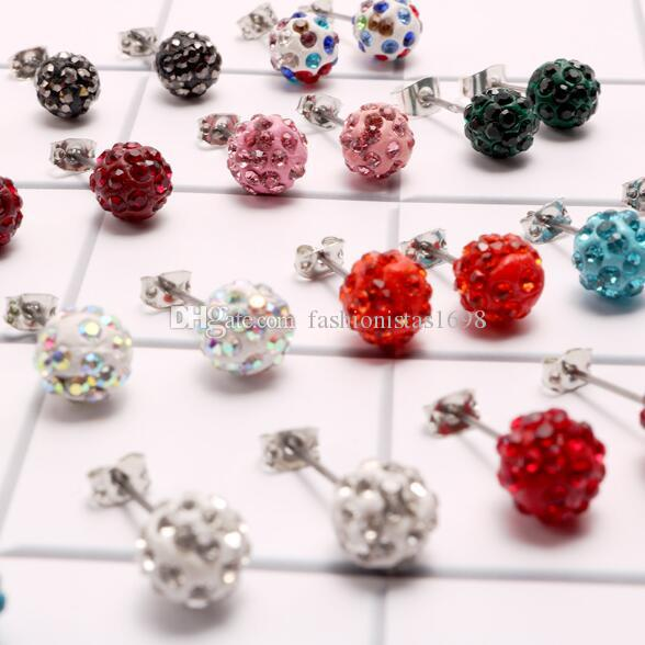 Fashion jewelry 8mm shambala ear studs 15 colors polymer clay coloured diamond ball earrings Shambala crystal earrings