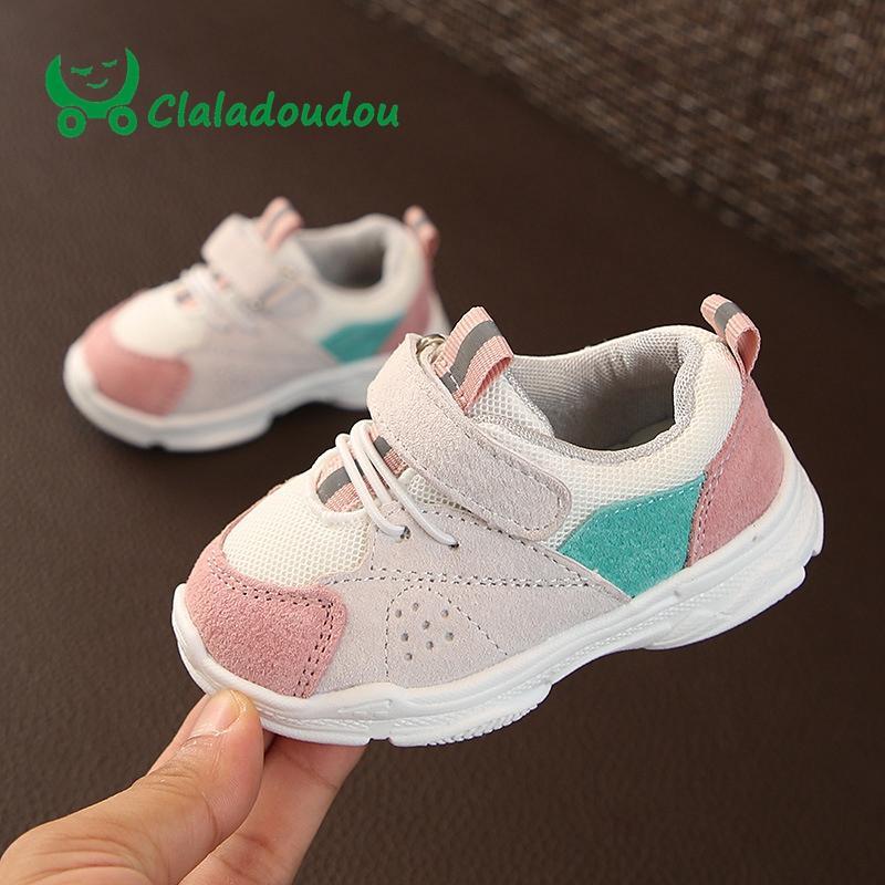 df2b8fef7 Compre 0 2 Anos De Idade Da Marca Sapatos De Couro Genuíno Do Bebê + Malha Respirável  Sapatos Da Criança Crianças Meninos Meninas Rosa Macio Walkers ...