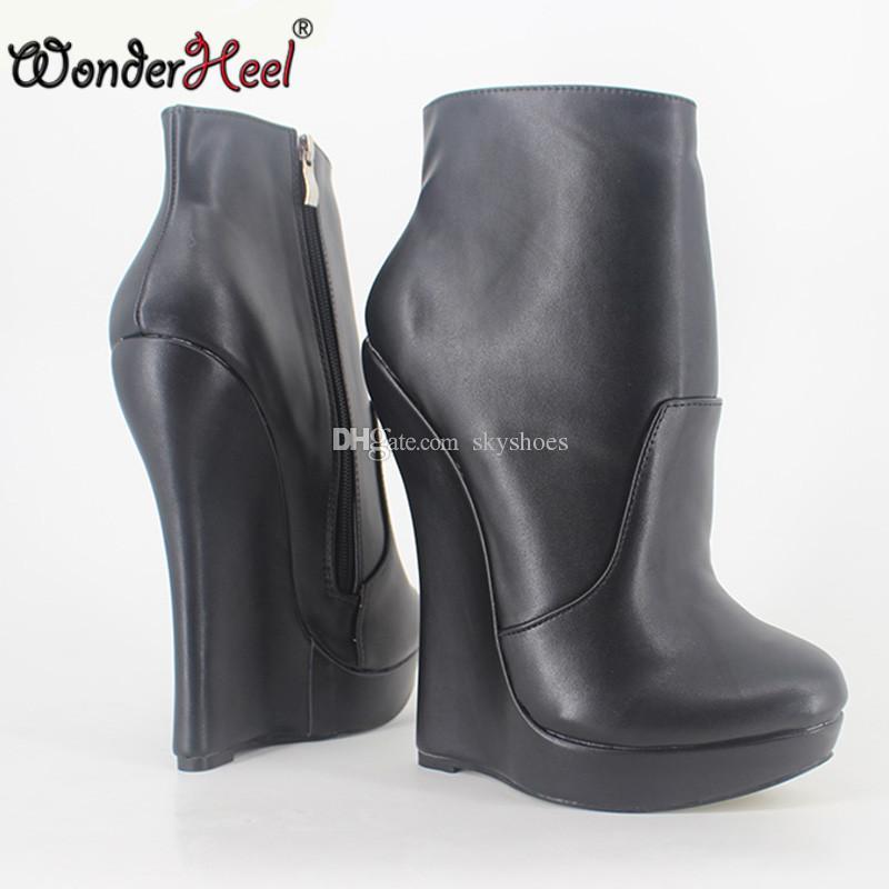 db6b637b78b Wonderheel New Matt Leather Extreme High Heel 18cm With 3cm Platform Wedge  Ankle Boots Short Boots Fashion Show Sexy Boots Ankle Boots For Women Mens  ...