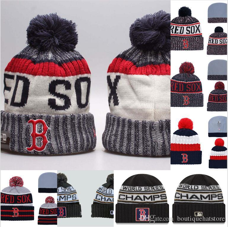 302f00b0577 Men S Boston 2018 American League Champions Cuffed Pom Knit Hat Cuffed Red  Sox Baseball All Team Sport Skullies Beanie Caps For Women Sun Hat Hats For  Men ...