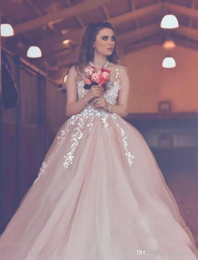 2018 Blush Pink Plus Size Beach Wedding Dresses A Line V Neck Backless Tulle Country Bridal Gowns Arabic 3D-Floral Appliques Party Dress