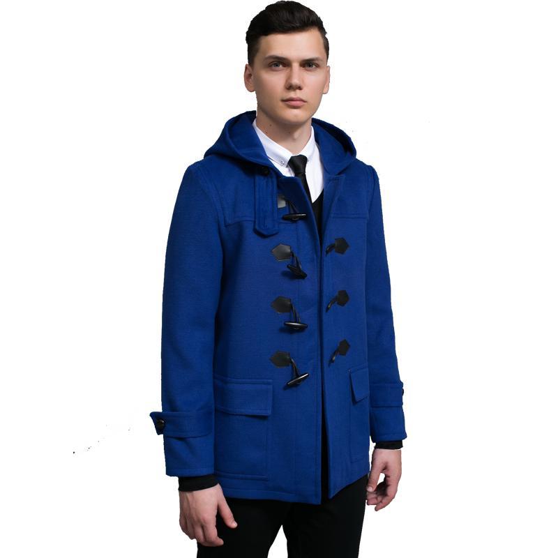 info for 1f33c 8c05b Montgomery Uomo Design Short Mens Duffle Coat Autunno e Inverno Nice  Cappuccio corno con bottoni Giacca in lana per uomo Cappotto blu Loden  Regali 3XL