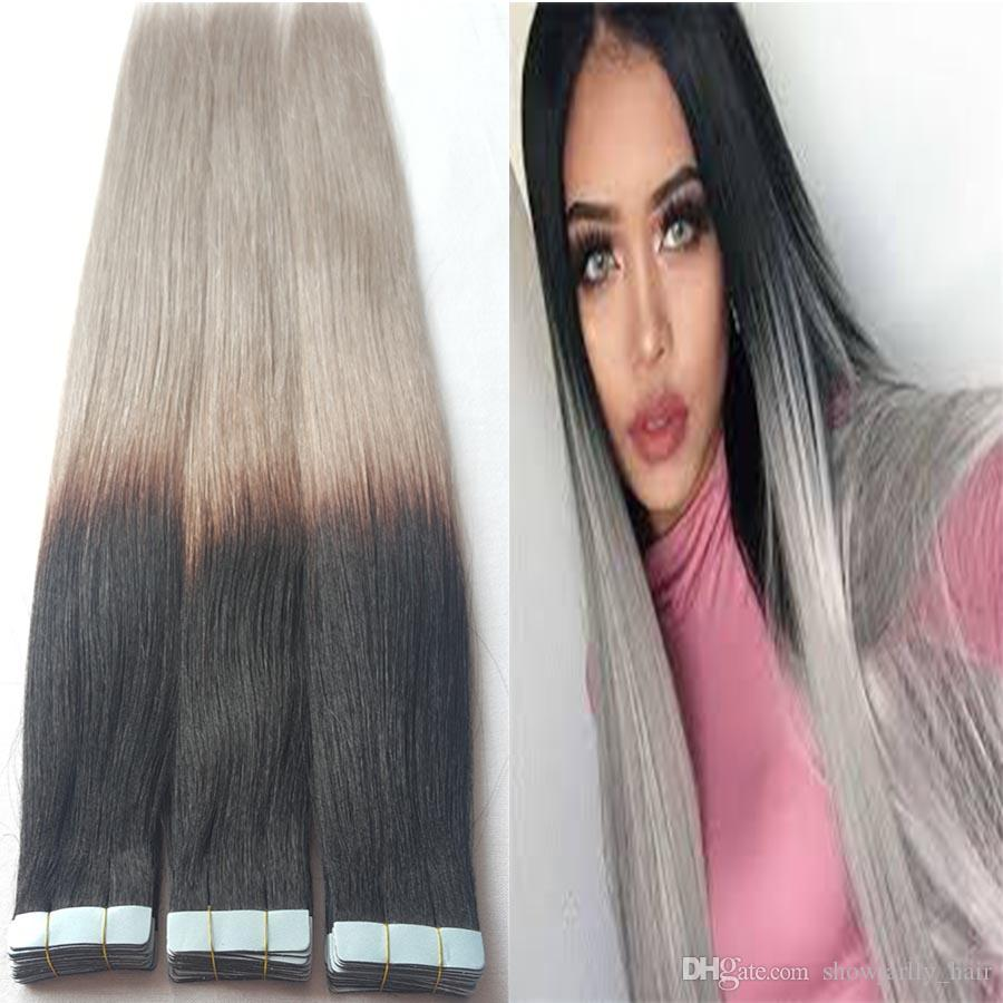 10a Grade Tape In Hair Extensions Ombre Bayalage Black To Gray