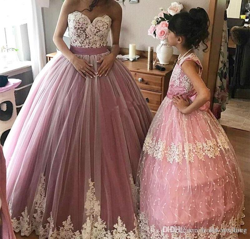 92e4c120740 2018 Pink Quinceanera Dress Princess Puffy Appliques Flowers Sweet 16 Ages  Long Girls Prom Party Pageant Gown Plus Size Custom Made Full Length Gowns  Gowns ...