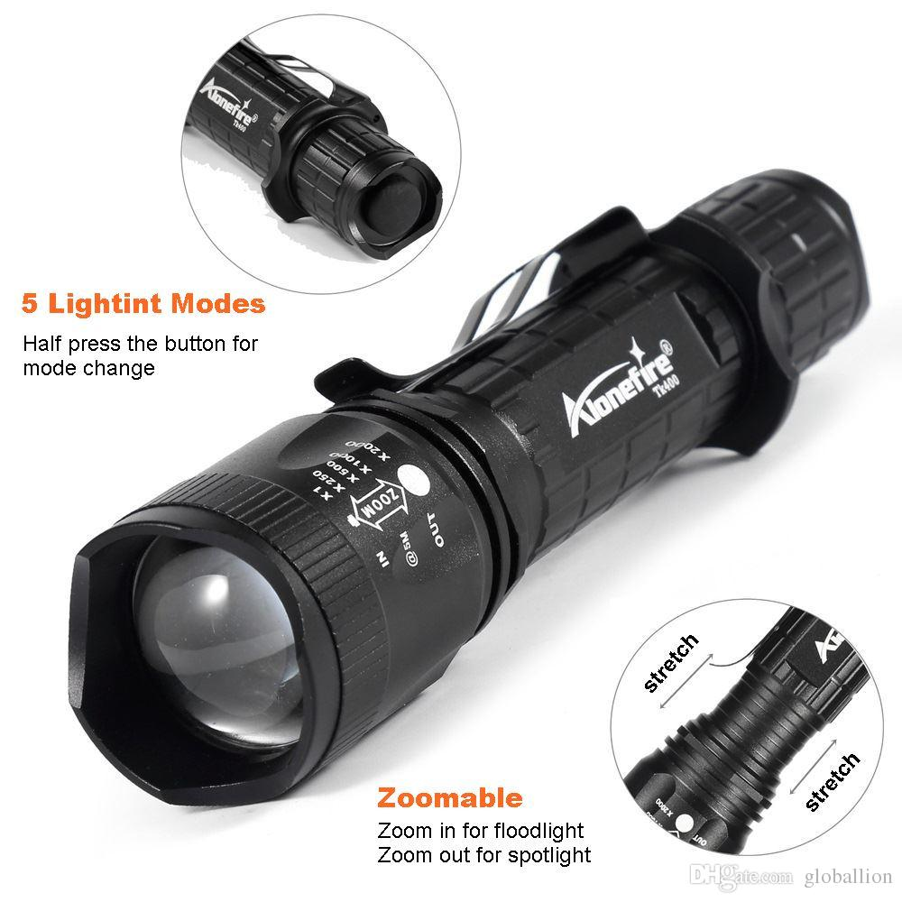 AloneFire TK400 Tactical light Torch CREE Zoomable LED flashlight XM-L2 hunting lights with remote pressure pad switch / mounts for 18650