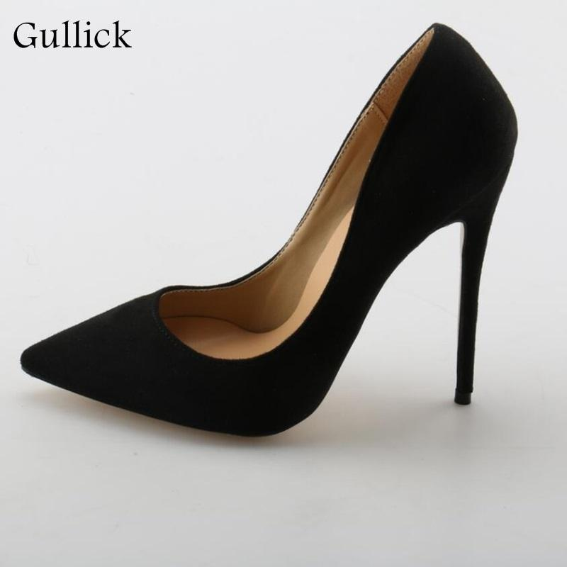b62b5375df Sexy Woman High Heel Flock Pumps 2018 Classic Comfortable Pointed Toe Slip  On Shoes Black Elegant Party Dress Evening Pumps