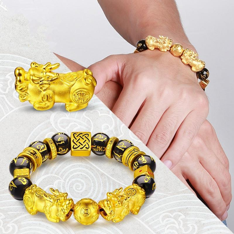 Gold Color Brave Troops Stone  Bangles Bracelet 6 Words Chinese Lucky Enegry God Beast Pixiu Bracelet Dropship Jewelry Gift