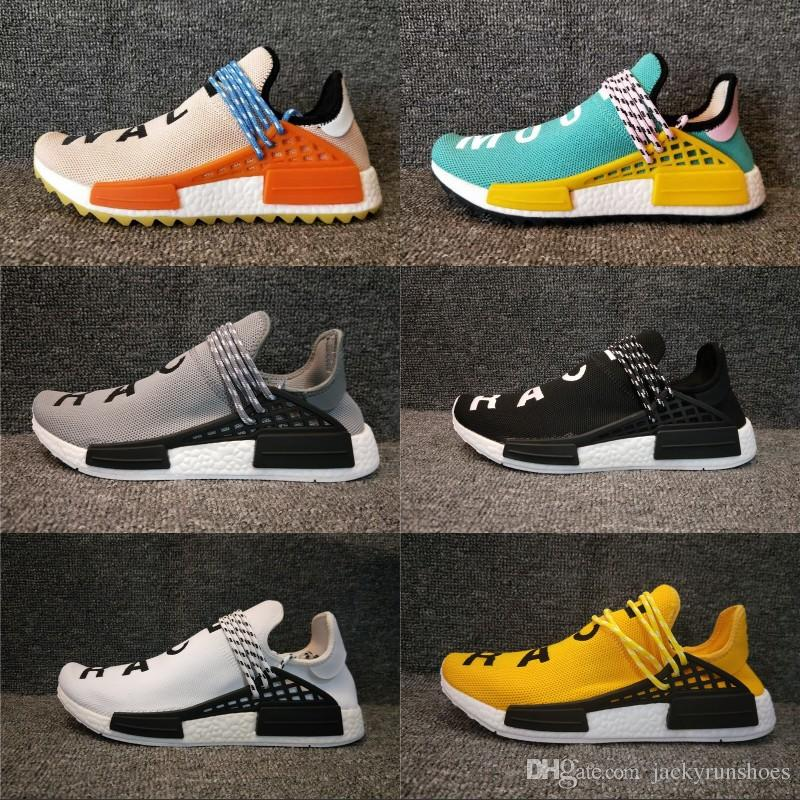 reputable site 8e28f 8bd0e Human Race Pharrell Williams Hu trail NERD Men Womens Running Shoes white  noble ink core Black Red sports boots designer sneaker 36-45