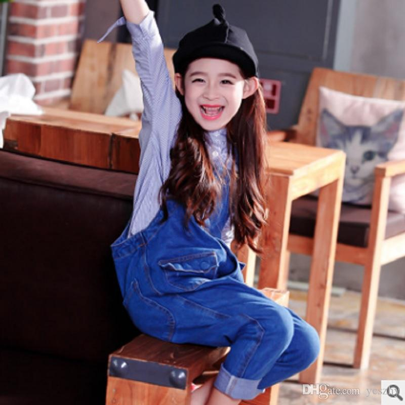 1ec062b22197 Girls Denim Overalls Jeans 2018 New Autumn Children S Fashion Personality  Two Pocket Overalls Button Pants Blue Color Ly026 Suspenders For Infant  Boys Baby ...