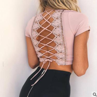 d7c7bad00e5 Summer Women Vest Tops Tanks Camis Lace Deep V Hollow Slim Vest Sexy ...
