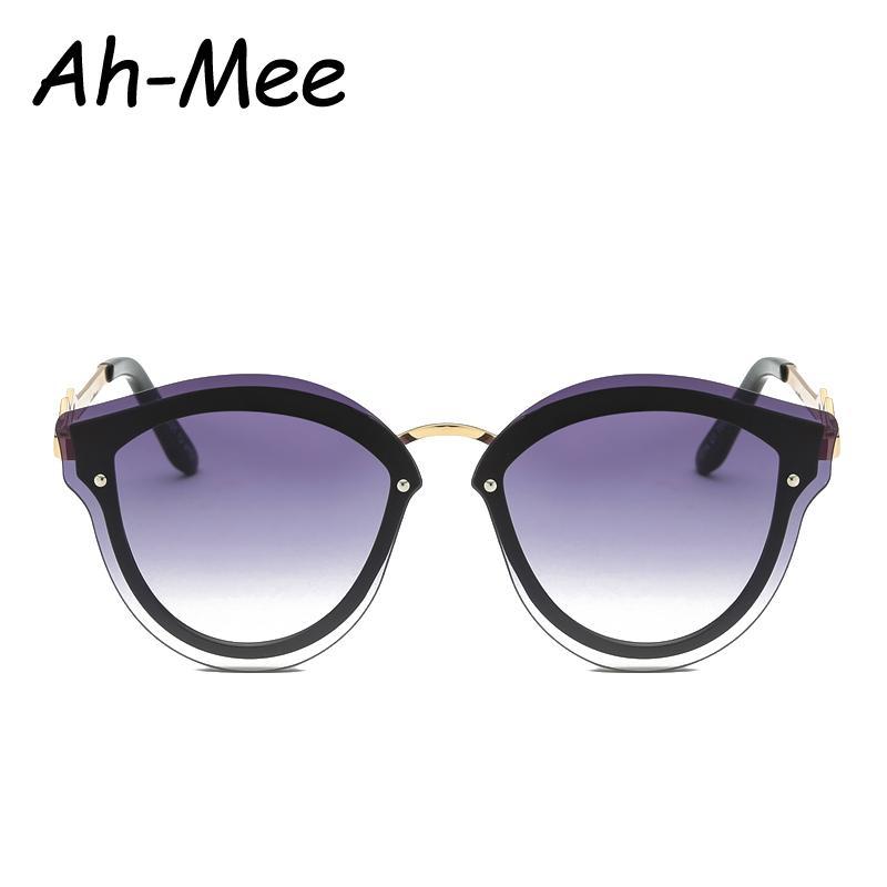 3e24469ef47be Fashion Women Cat Eye Sunglasses Vintage Oval Brand Designer Sun Glasses  Rimless Flat Panel Clear Lens Metal Frame Shades UV400 Sun Glasses Eyewear  From ...
