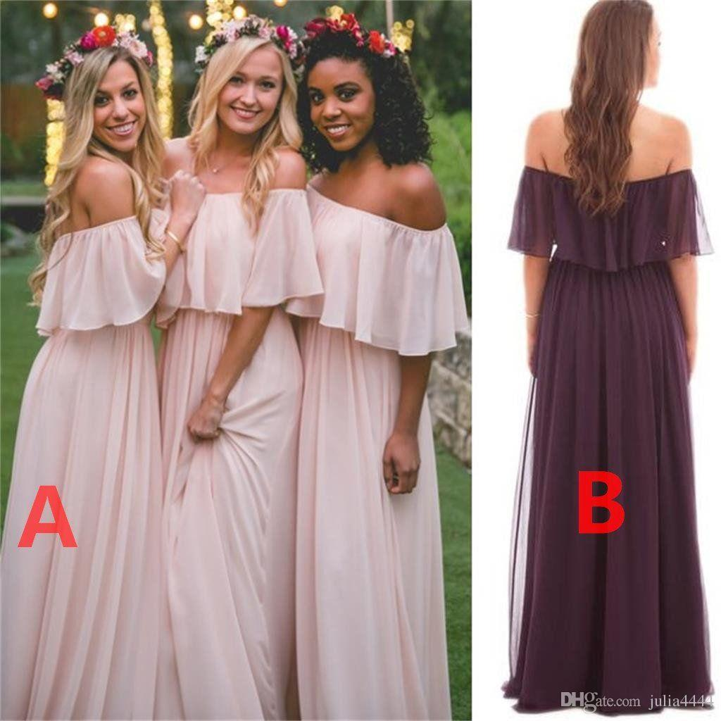 Bridesmaid dresses vintage country mumu 2018 modest off shoulder bridesmaid dresses vintage country mumu 2018 modest off shoulder chiffon beach bohemian junior maid of honor wedding party guest gowns mumu bridesmaid ombrellifo Image collections