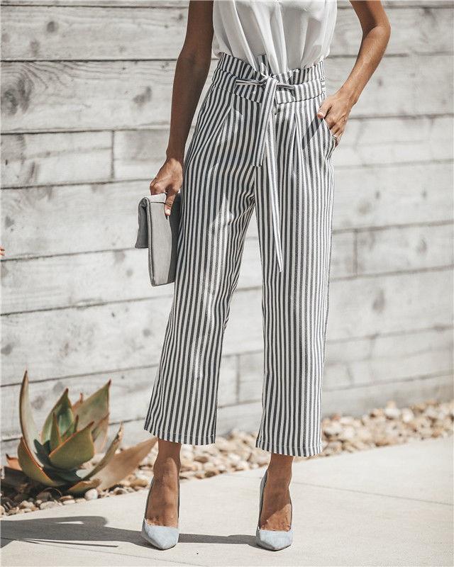 0e9dd950b5 Compre Mujeres Palazzo Oficina Cintura Alta Pantalones Sueltos Rayas  Pantalones Largos Pantalones Casuales Ropa Casual De Mujer A  25.51 Del  Bestshirt008 ...