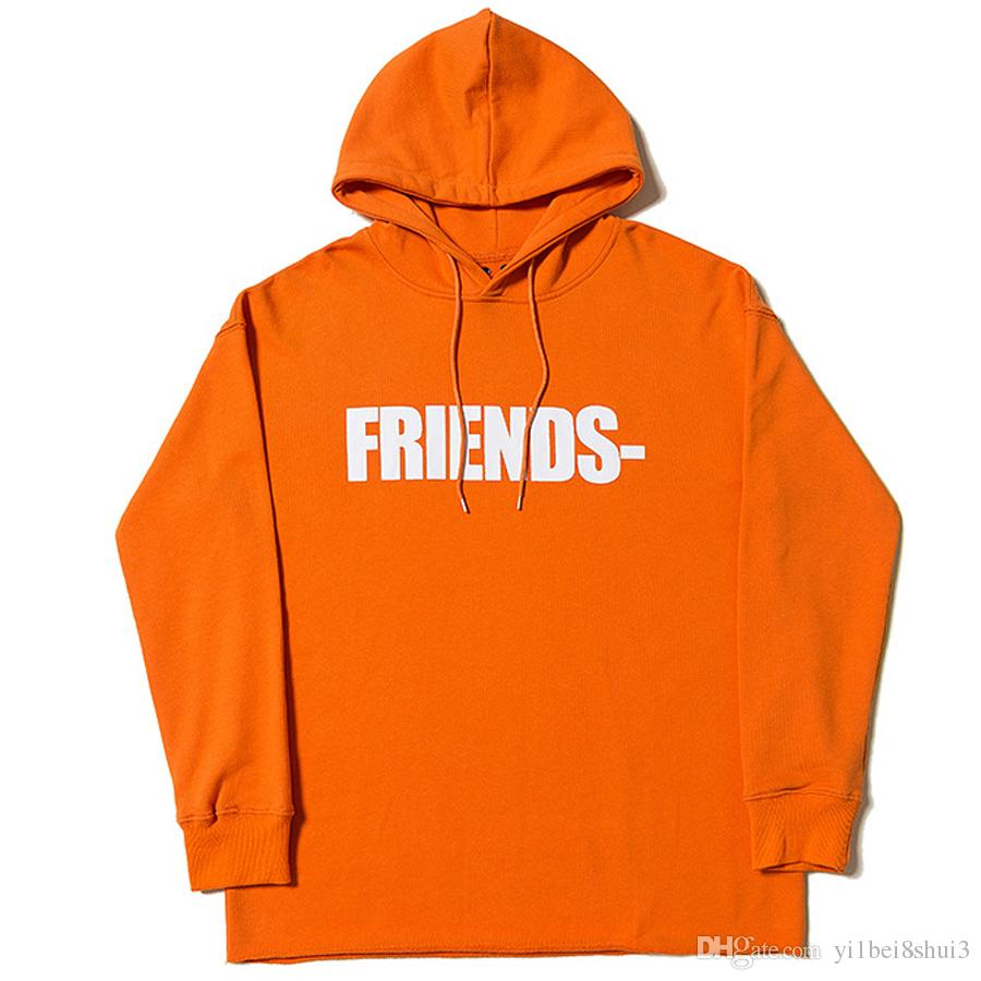 efce2fab01 2019 Vlone Friends Hoodie Orange Sweatshirt Men Women Jackets Tracksuit Hip  Hop Streetwear Harajuku Winter Brand Coat Hooded Fashion Pullover New From  ...