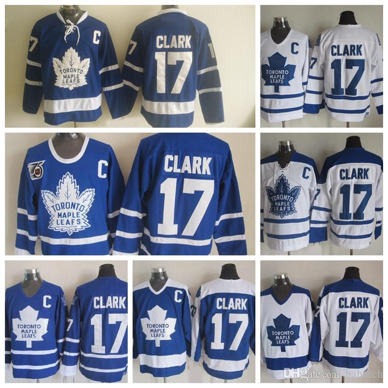 buy online 1a35f a0ad1 Vintage Toronto Maple Leafs 75th Anniversary 17 Wendel Clark Hockey Jerseys  Vintage Classic Wendel Clark Jersey Embroidery C Patch S-3XL