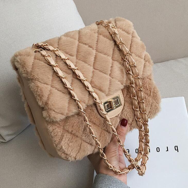 Outlet Brand Women Handbag Winter New Linger Chain Bag Classic Linger Plush  Bag Sweet Cute Plush Shoulder Bag Soft And Comfortable Mao Ma White Handbags  ... ba0f44f7eeec7