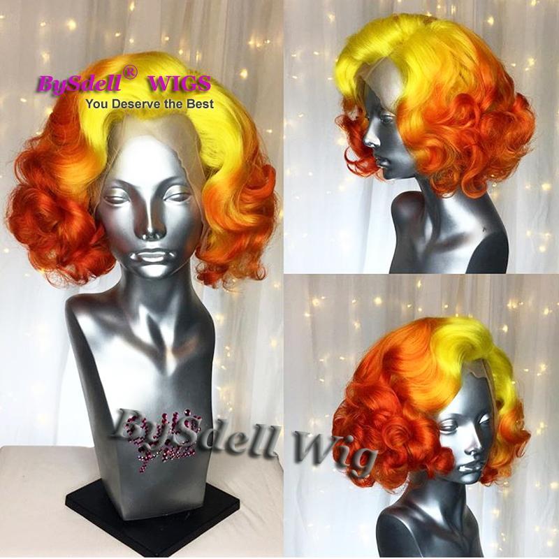 Parrucca anteriore in pizzo celebrità acconciatura ondulata corta celebrità Marilyn Monroe giallo Ombre colore rosso onda sciolta parrucche anteriori in pizzo cosplay spettacolo teatrale