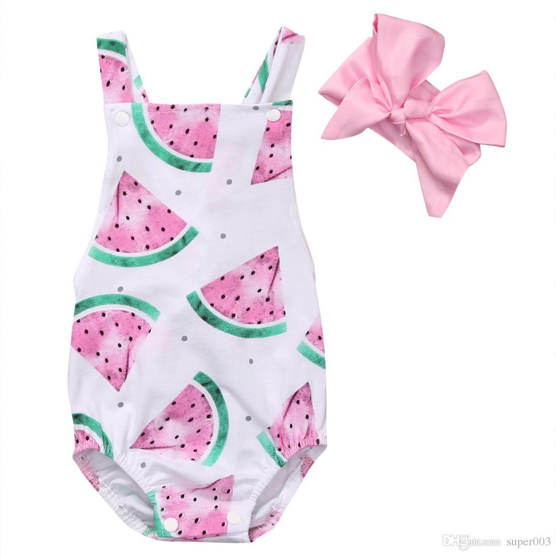 Bodysuits & One-pieces Girls' Baby Clothing Summer Newborn Baby Girls Floral Romper Jumpsuit Sunsuit Outfits Set Baby Girl Printed Sleeveless Bow Romper Blue Grade Products According To Quality
