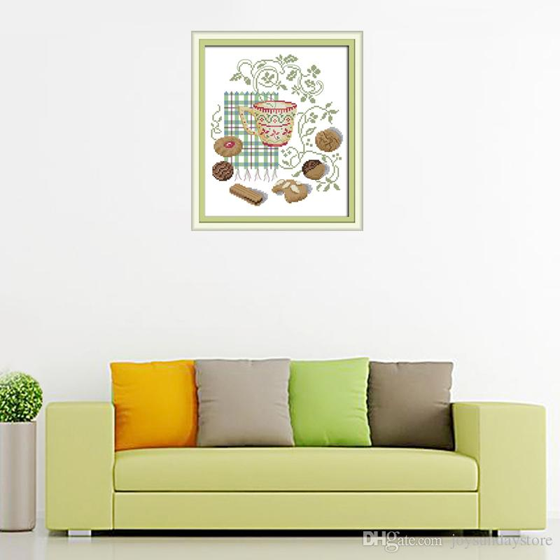 The Afternoon tea 4 Patterns Counted DMC 14CT and 11CT Cross-Stitching Precise Printed For Embroidery Needlework Home Decoration