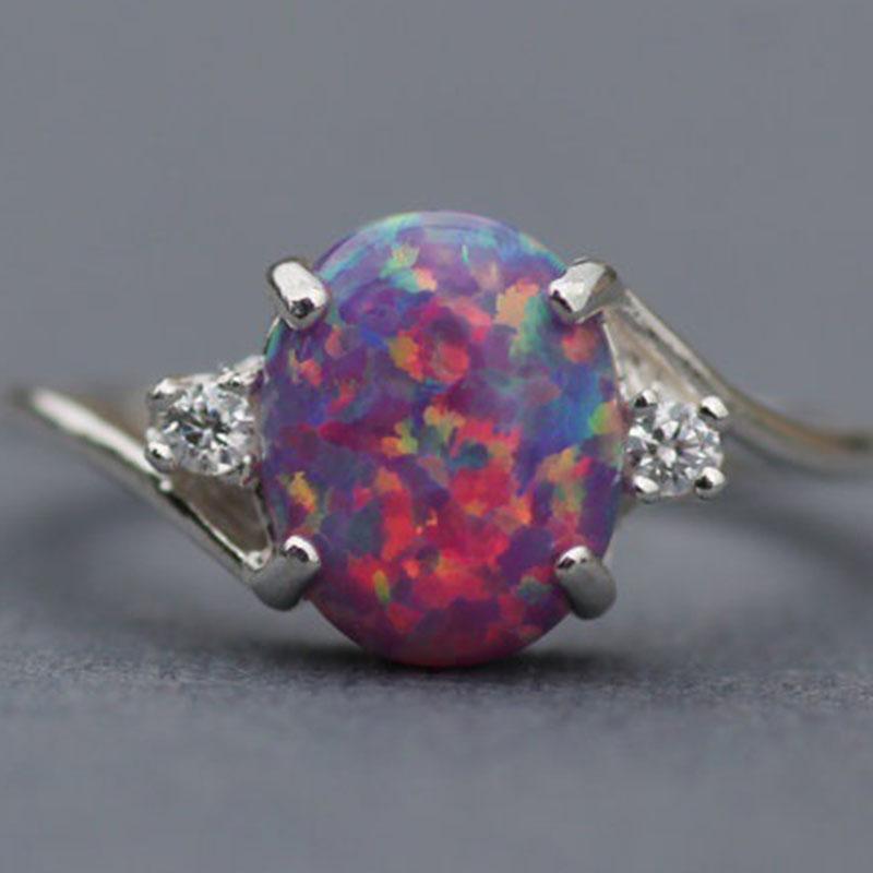 Büyük Taş Opal Yüzük Moda Kadınlar Solitaire Alyans Alyans Takı Hediye Olacak ve Sandy Drop Shipping