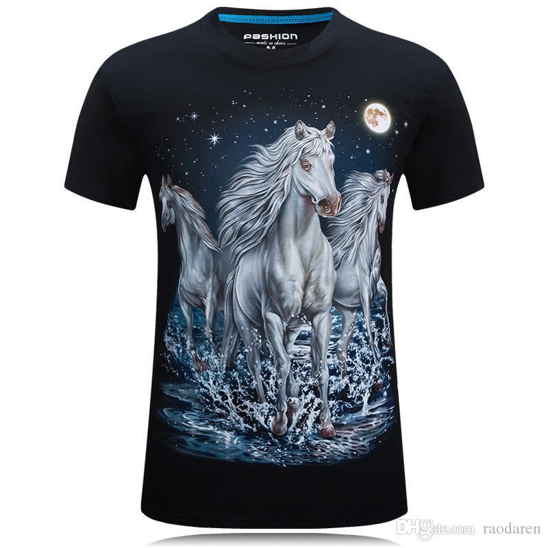 3227957a Men Tshirt Short Sleeve Summer 2018 Tops Casual 3D Print T Shirt O Neck Tees  Plus Size Original Brand White Horse Black Blue Humorous Shirts Buy Tee  Shirts ...