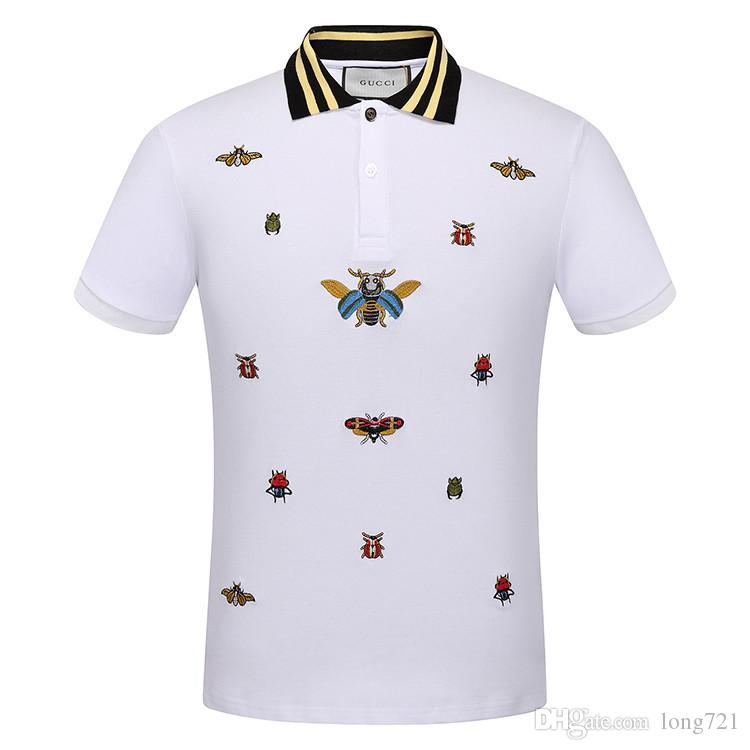 8eedebe76ac 2019 Popular 2018 Summer New Men S Polo Neck Lapel Short Sleeve Sweatshirts T  Shirts Cotton Embroidery Insect Bee Tee Shirts 314 From Long721