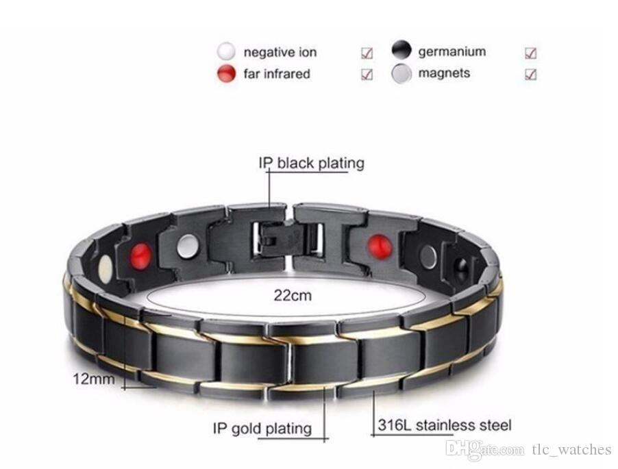 Energy Bracelet Bangle Men Titanium Steel Bio Magnetic Germanium Therapy Radiation Fatigue Health Bracelets Black&Gold Top Quality