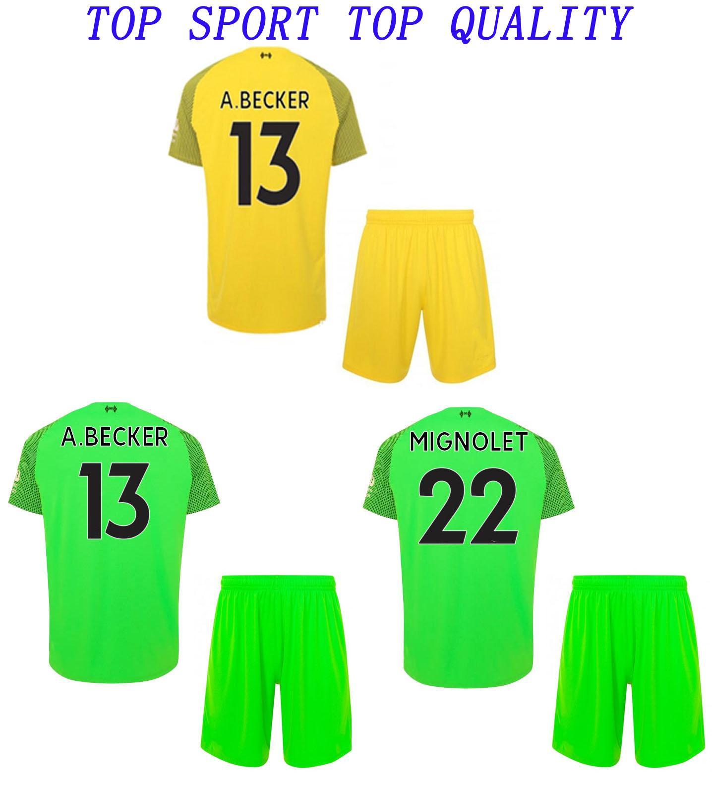 592b59cef40 2019 18 19 LIV Goalkeeper Soccer Jersey Shorts A.BECKER MIGNOLET Football  Sets 2018/19 Liv Goalie Shirts Pants Mens Outdoor Sport Training Suits From  ...