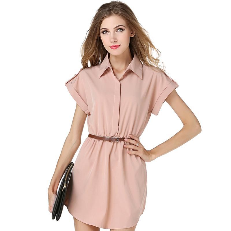 129ed93f4e4f 2017 New Summer Women Dress Casual Cute A-line Turn-down Collar Short Above  Knee Solid Daily Simple Women's Dresses