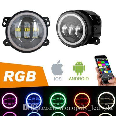 7 Inch RGB Halo Cree LED Round Multi Color Headlights + Pair 4 Inch RGB Halo Cree LED Fog Lights for Jeep Wrangler JK TJ Cell Phone APP Blue