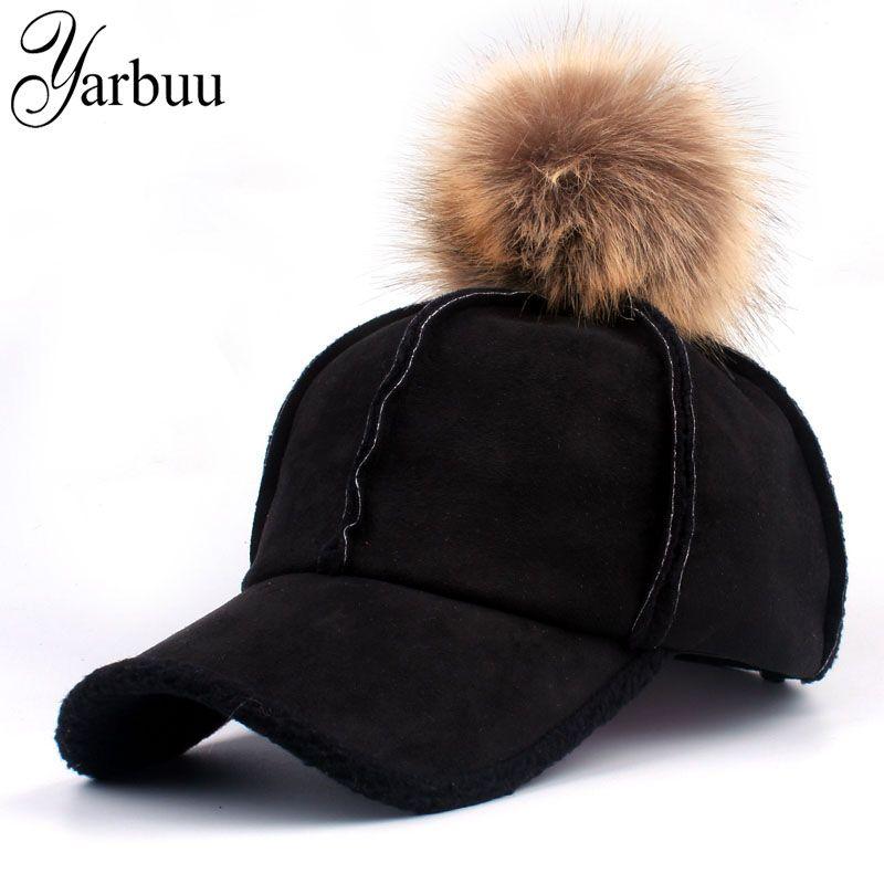 YARBUU 2018 Good Quality Brand Baseball Caps Winter Cap For Women Faux Fur  Pompom Ball Casual Snapback Hat Cap Kangol Baseball Caps From Heheda1 5cd7d57ba736
