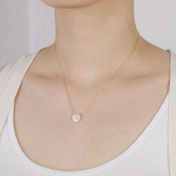 Fashion Gold-color silver plated Brushed Round Circle Necklace Pendant Necklace for women gift Wholesale