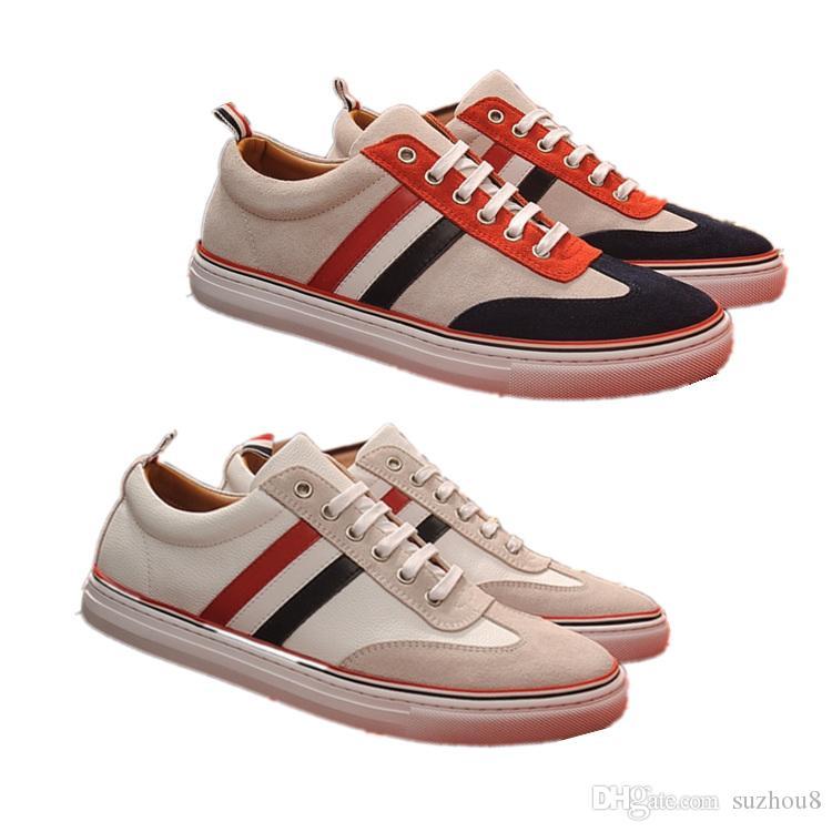Acquista Mens Designer Di Lusso THOM Tb Shoes BROWNE Scarpe Casual In Pelle  A Costine Color Nero Le Sneakers Bianche E Nere Uomo A  89.35 Dal Suzhou8  ... f9770d944de