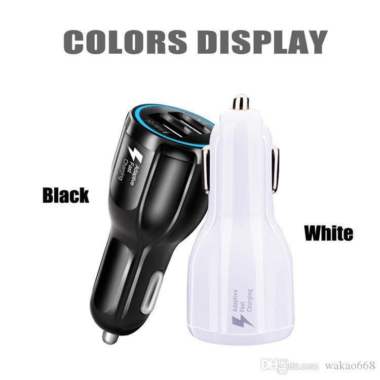 2019 For Samsung Galaxy S8 Iphone QC3.0 fast charge 3.1A Qualcomm Quick Charge car charger Dual USB phone charger with opp package