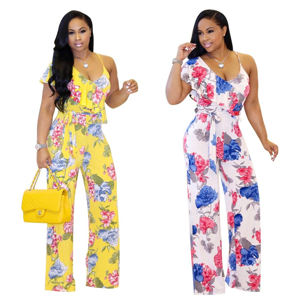 1dabec0a6f55 2019 Wide Leg Jumpsuits Casual Women Summer Ladies Sexy Deep V Neck One  Slip One Ruffle Sleeve Floral Tie Waist Beach Romper Plus Size From  Hengytrade