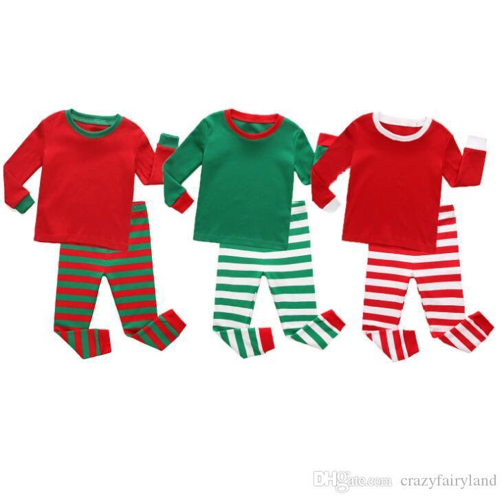 6236cb22c0edc Acheter Pyjamas De Noël Pour Enfants Rayé Vert Rouge Ensemble Tenues Tenues Enfants  Pyjamas De Coton Rayé À Manches Longues Vêtements De Nuit De Noël ...
