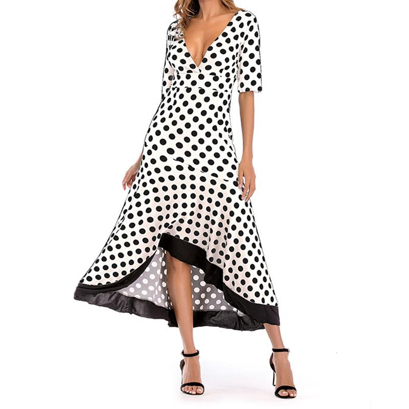 9eedac1dac877 Polka Dot Midi Dress Women Summer Ruffles Half Sleeve Deep V Neck Dresses  2018 Female Plus Size Boho Asymmetrical Sundress GV816
