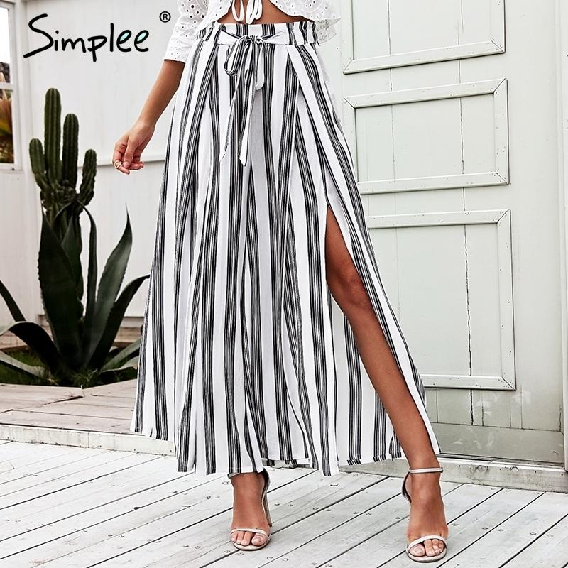 9b08ec4572c1 2019 Simplee High Waist Loose Striped Summer Pants Plus Size Sexy Side  Split Women Pants Elastic Cotton White Wide Leg Trousers 2018 C18110901 From  ...