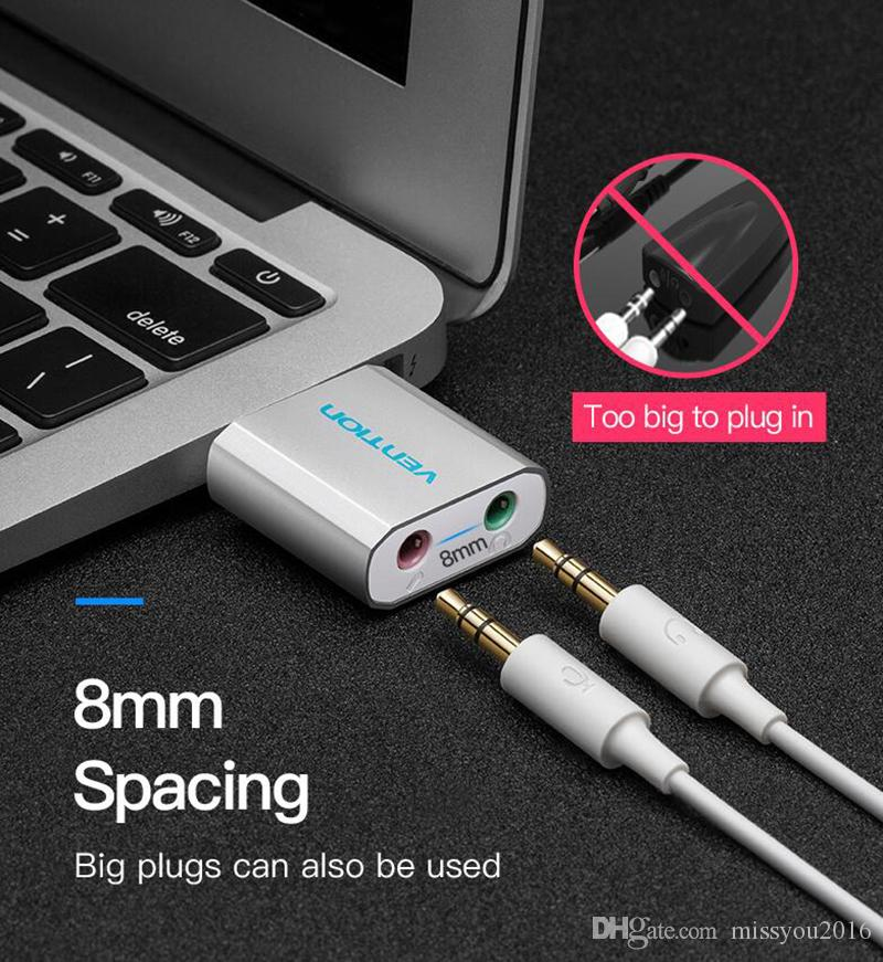 Mini tarjeta de sonido USB Tarjeta de audio USB a 3,5 mm Femal Tarjeta de sonido externa Con micrófono Adaptador de auriculares para altavoz PC portátil PS4