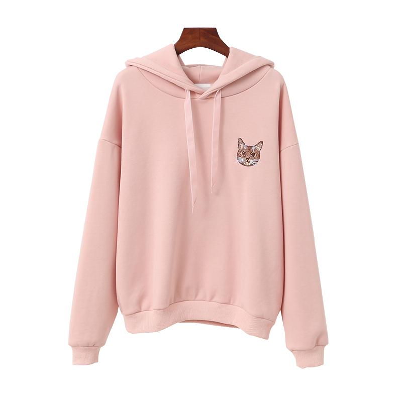 2019 Women Harajuku Hoodies Girls Autumn Lovely Kawaii Hooded Thick Cat  Embroidery Sweatshirt Winter Pink Black Outwear From Glorying af3f66382401