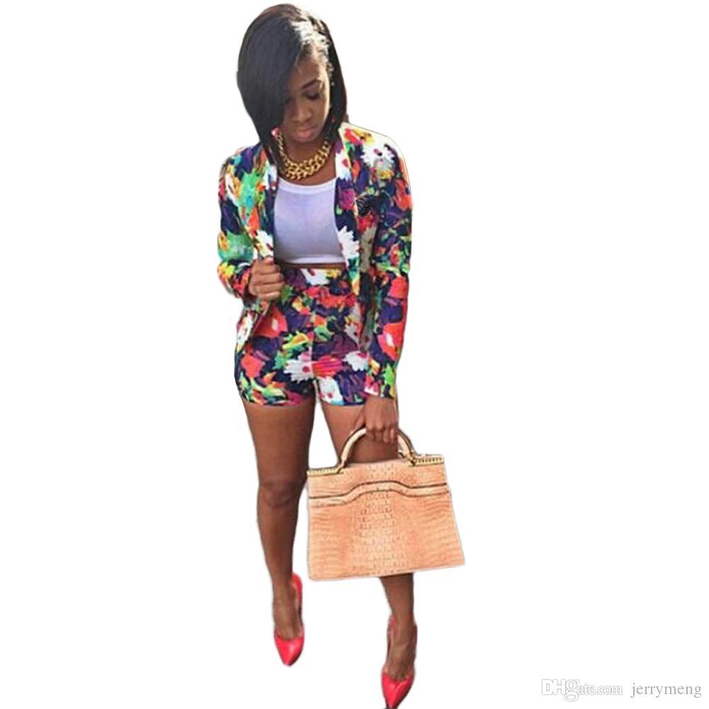 Sexy Verano Conjunto Pantalones Estampado Mujer Larga De Dos Floral Informal Cortos Juego Manga Blazer Piezas Con J35lKcTFu1