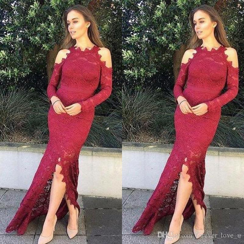 2019 Elegant Lace Evening Dresses Dark Red Burgundy Jewel Neck Cold  Shoulder Long Sleeves Mermaid Prom Party Gowns With Sash Front Split Beautiful  Evening ... 99ae94a892ea