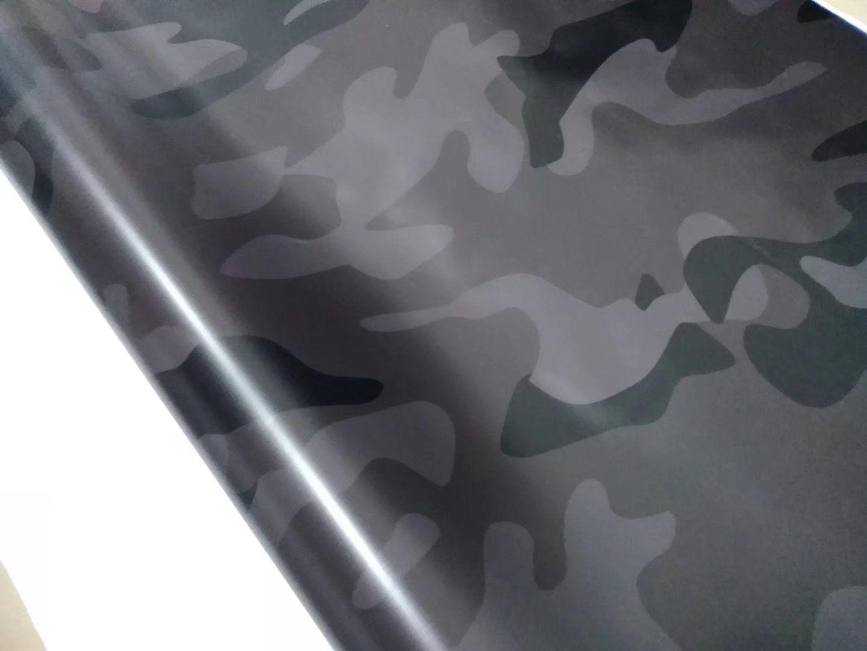 Большой черный серый камуфляж виниловой наклейки Камуфляж Car Wrap покрытие фольги с воздушным пузырем свободный размер 1.52 x10m / 20m / 30m / Roll
