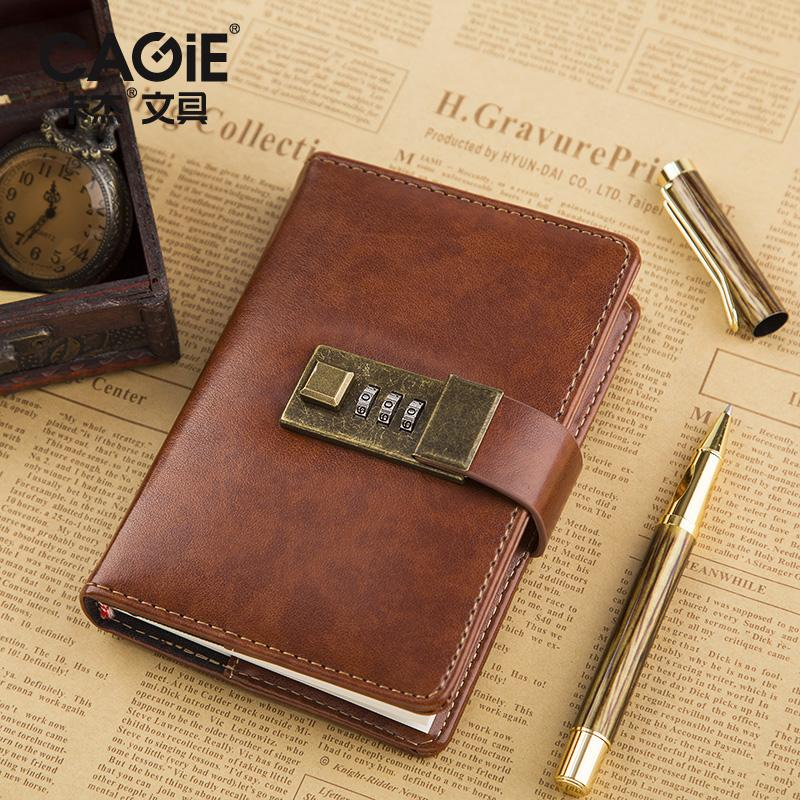lock diary cagie a7 mini notebook fitted lined pages vintage leather