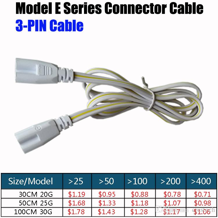 linkable cords Cables 24 Inches T5 T8 Tube Connector Cable Wire Cord for Integrated LED Fluorescent Light Lamp AC85-265V One Piece
