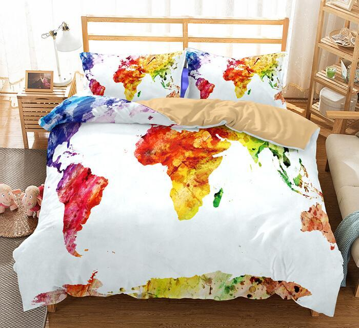 HOT US AU Size Luxury Bedding Set Duvet World Map Printed Bed Cover ...