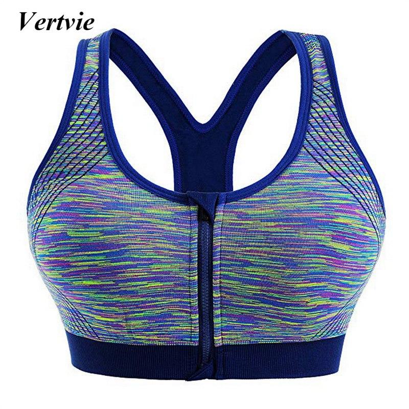 Vertvie Women's Zipper Sports Bra Sports Underwear Woman Sport Vest Female Shockproof Running Yoga Breathable Top 1/2/3/5Pcs