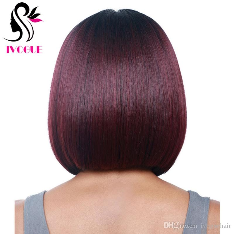Burgundy Ombre Lace Front Bob Wig Short Virgin Brazilian Straight Gluless Full Lace Human Hair Wigs Ombre Bob Wig with Baby Hair