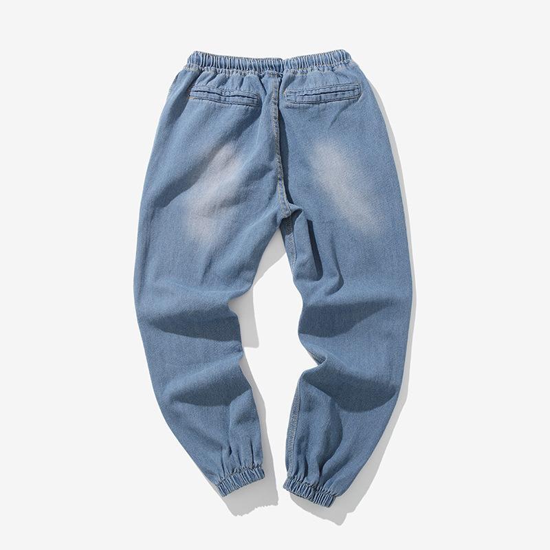 0144f37ca 2018Nueva marca Pantalones vaqueros para hombre pantalones japoneses  originales de gran tamaño con cintura elástica con cordones Haz de pie ...